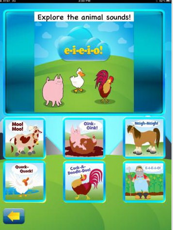 "Screenshot of EIEIO app with animals cartoon figures and the text, ""Explore the animal sounds!"""