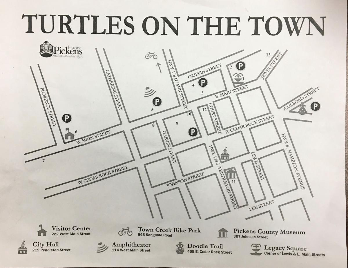 "Map of ""Turtles on the Town"" with locations of turtle sculptures"