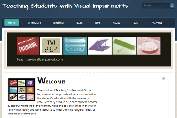 An example of a web resource for TVIs called TeachingVisuallyImpaired.com.