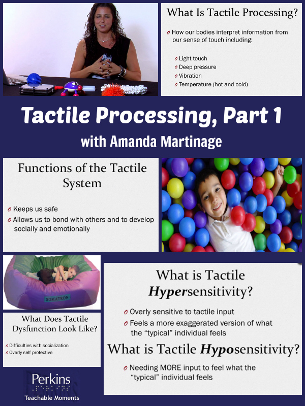 A collage of tactile processing, part 1 that shows what tactile processing is and what dysfuction looks like.