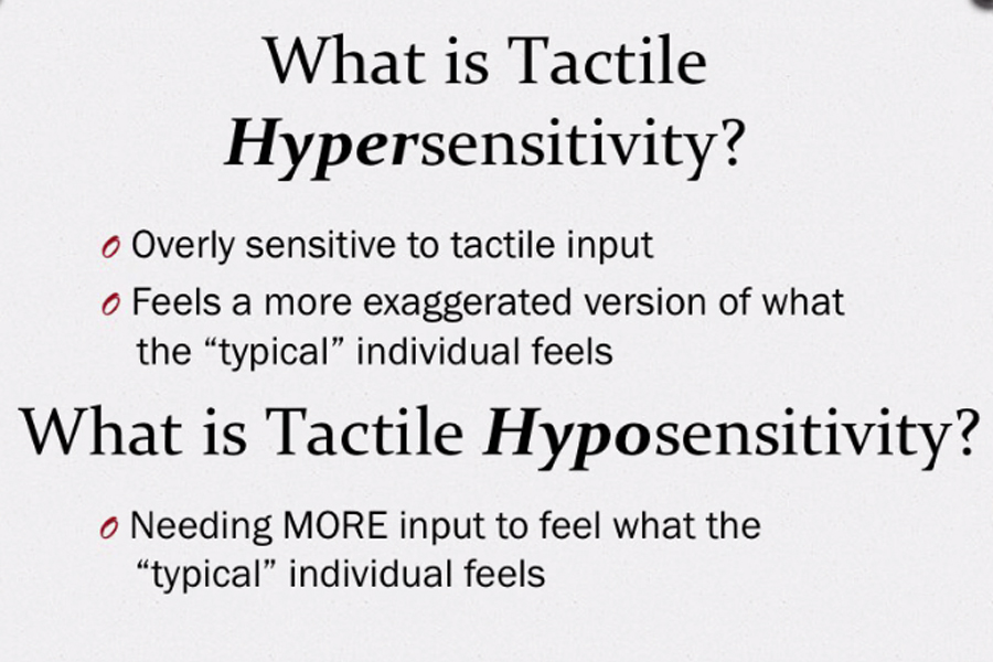 A graphic that shows different kinds of difficulties in the tactile area: hypersensitivity and hyposensitivity.