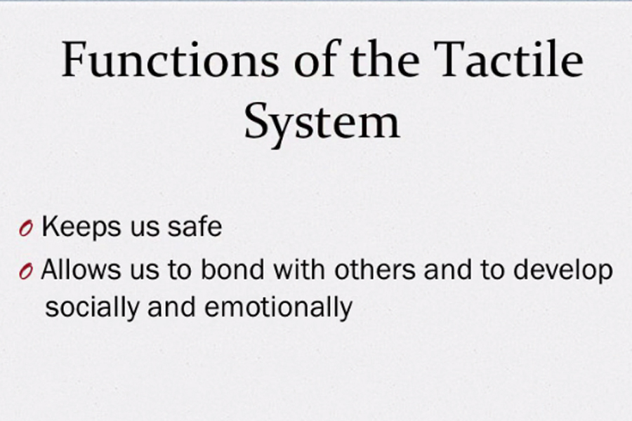 A graphic that shows the functions of the tactile system: keep us safe and allow us to bond with others.