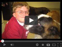 Dog licking the face of a boy