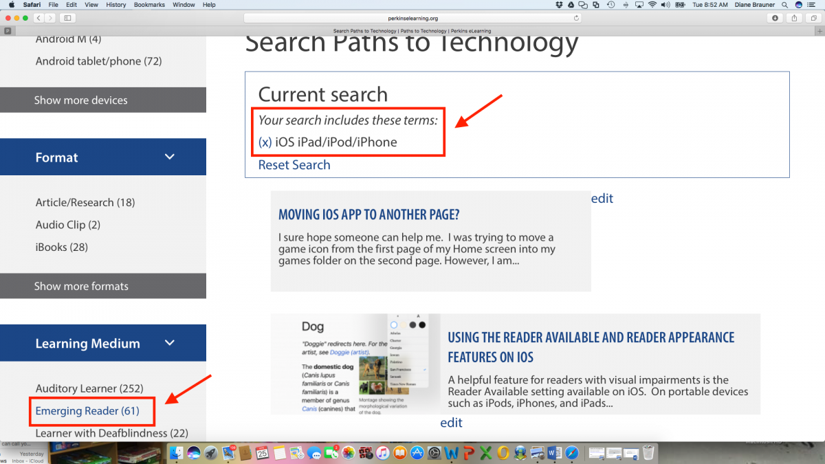 Screenshot of Technology Search page with iOS iPad/iPod/iPhone selected and drop down category menu on the left side.