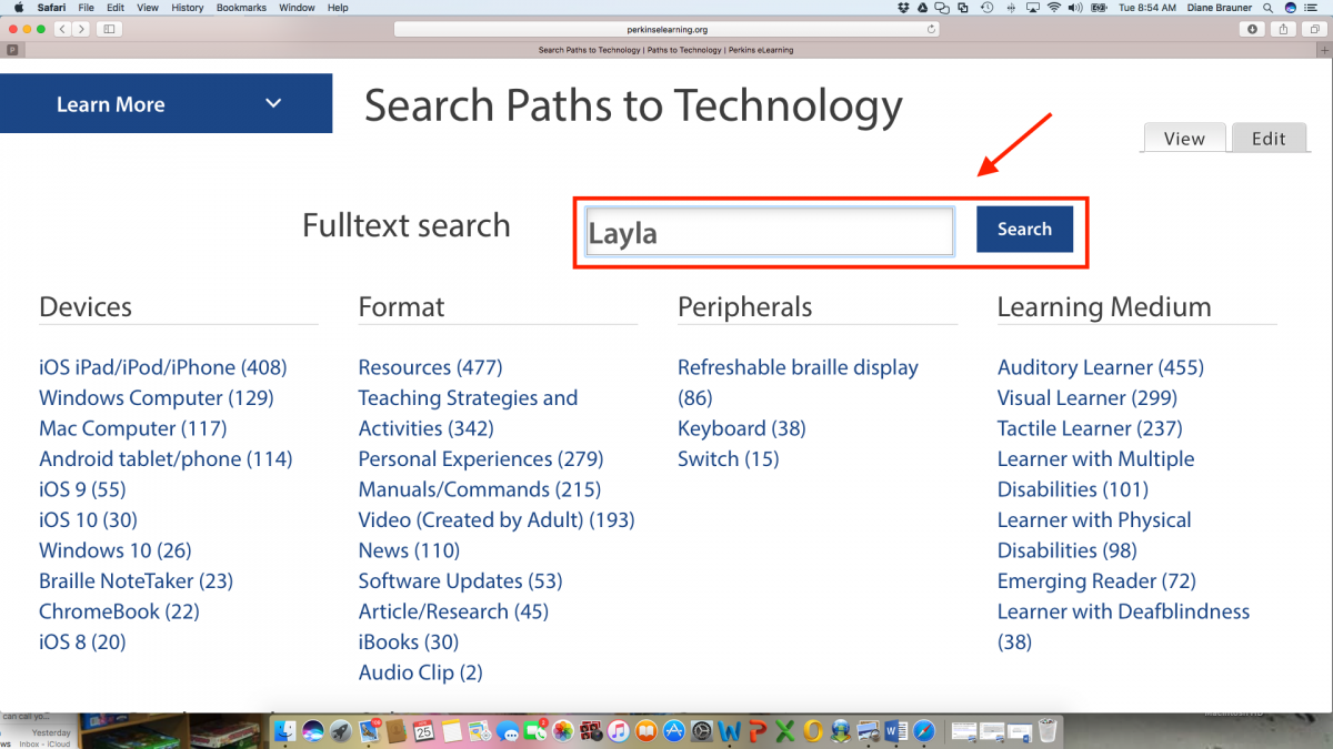 "Screenshot of Technology Search page with ""Layla"" typed in the search textbox."