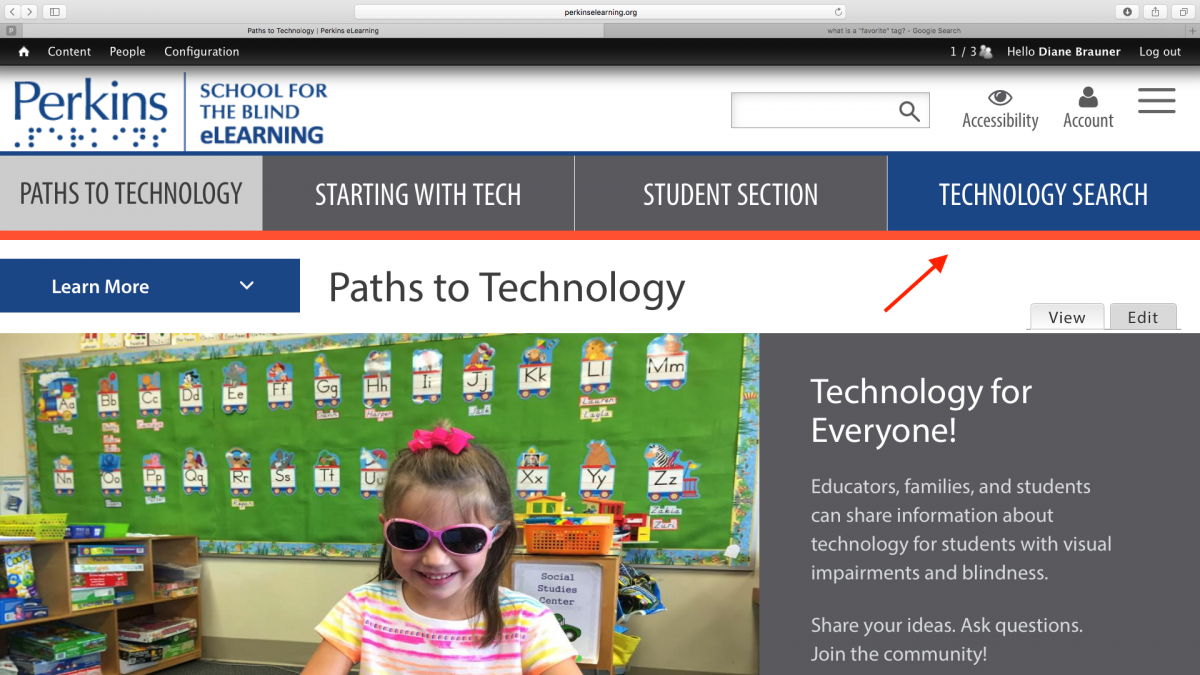 "Screenshot of Paths to Technology Home page with ""Technology Search"" tab indicated."