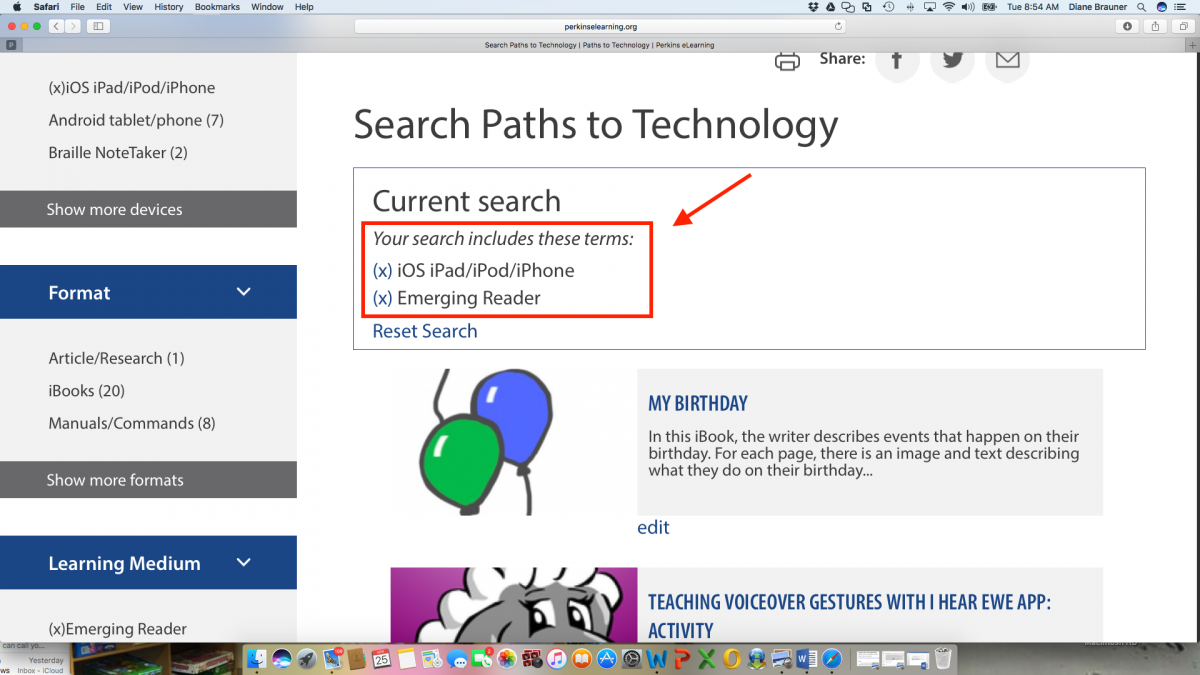 Screenshot of Technology Search page with the current search displaying iOS iPad/iPod/iPhone and Emerging Reader posts.