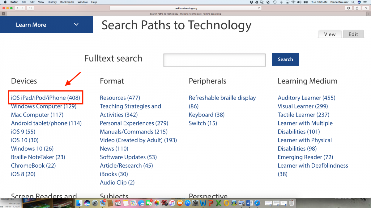 "Screenshot of Technology Search Page with the ""iOS iPad/iPod/iPhone"" indicated under the Device category."