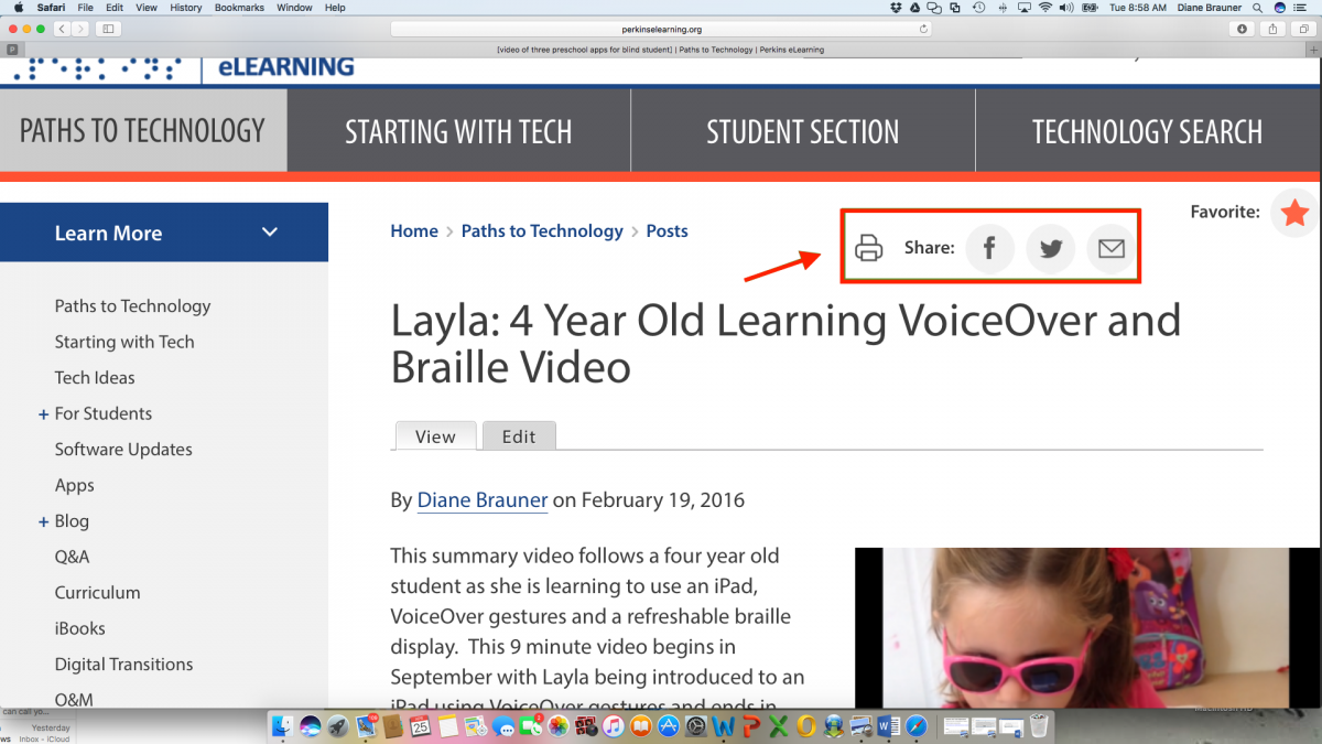 Screenshot of Layla: 4 Year old Learning VoiceOver post with Print, Share, Facebook, Twitter and eMail indicated.