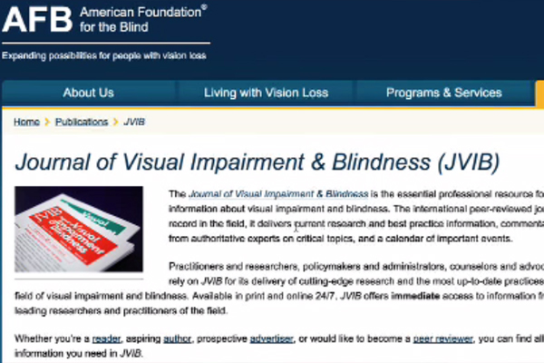 The Journal of Visual Impairment and Blindness page on the American Foundation for the Blind website.