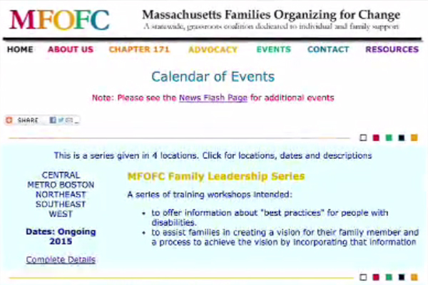 A webpage from the Massachusetts Families Organizing for Change website.