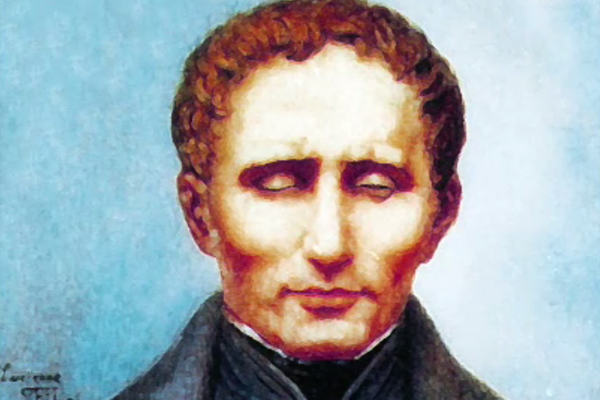 A painted portrait of Louis Braille, the developer of the raised dot braille alphabet.