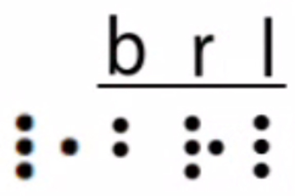 The two-celled UEB designation for the underlined word, braille, is shown, dots four, five, and six, and dot five, followed by the braille letters, B, R, L.