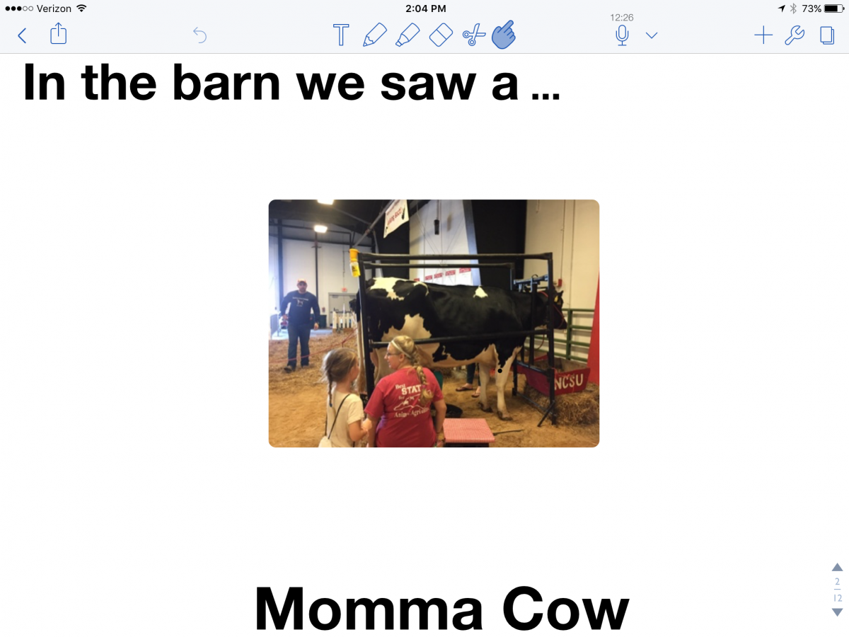 "Notability screenshot: ""In the barn we saw a cow""; picture of a student, teacher and real cow."