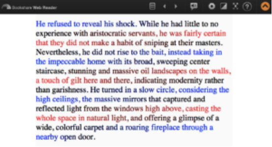 Repeated color schemes in text: first line is blue, second line is black, third line is red.