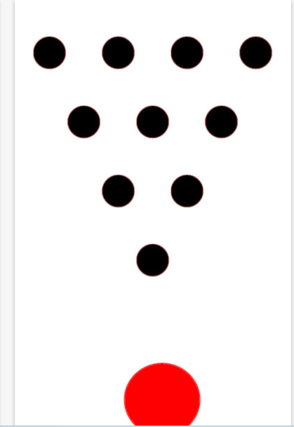 Diagram of a bowling pins layout with 10 black circles representing the pins and a red circle representing the bowling ball approaching the pins.