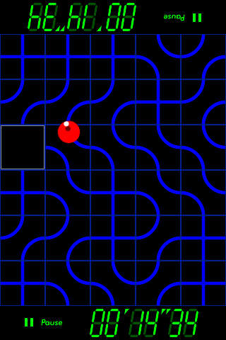 Screenshot of ChittyChitty Original app with red ball following curvy blue lines.