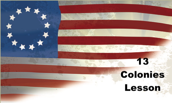 """US flag with 13 starts and text, """"13 Colonies Lesson"""""""