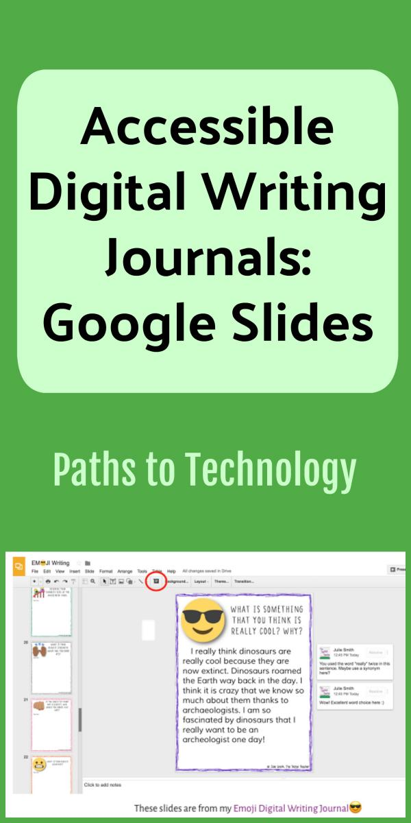 Collage of accessible digital writing journals