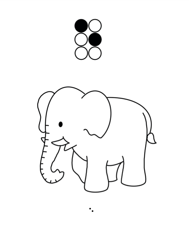"Braille ""e"" coloring page: 6-dot braille cell with black dots for 1 and 5, outline drawing of an elephant, and SimBraille ""e""."