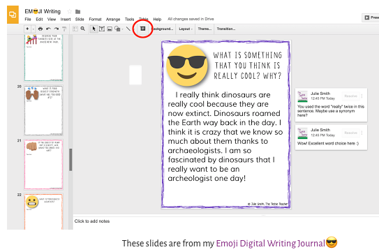 Google Slide showing Smiling face with sunglasses and prompt: What is something that you thinks is really cool? Why? from Techie Teacher's emoji Digital Writing Journal.
