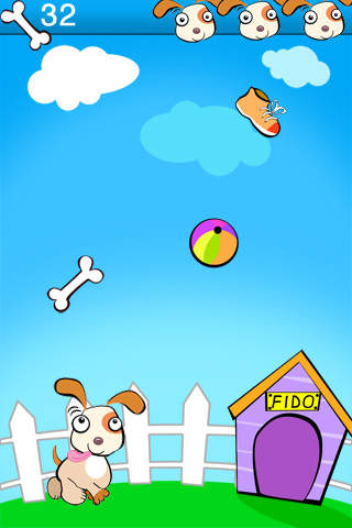 screenshot of Catch, Fido, Catch! app with a bone, ball and shoe falling from the sky.