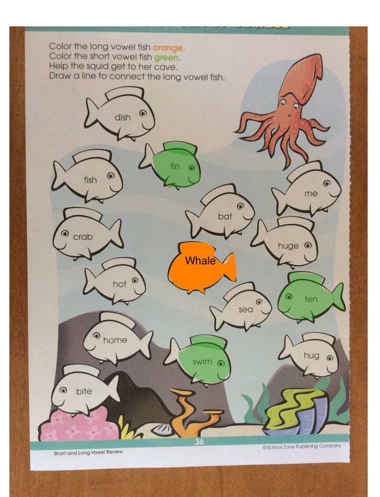 Worksheet: Color the long vowel fish orange and the short vowel fish green.