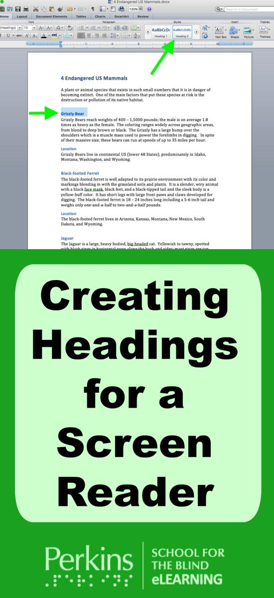 Collage of headings for a screen reader