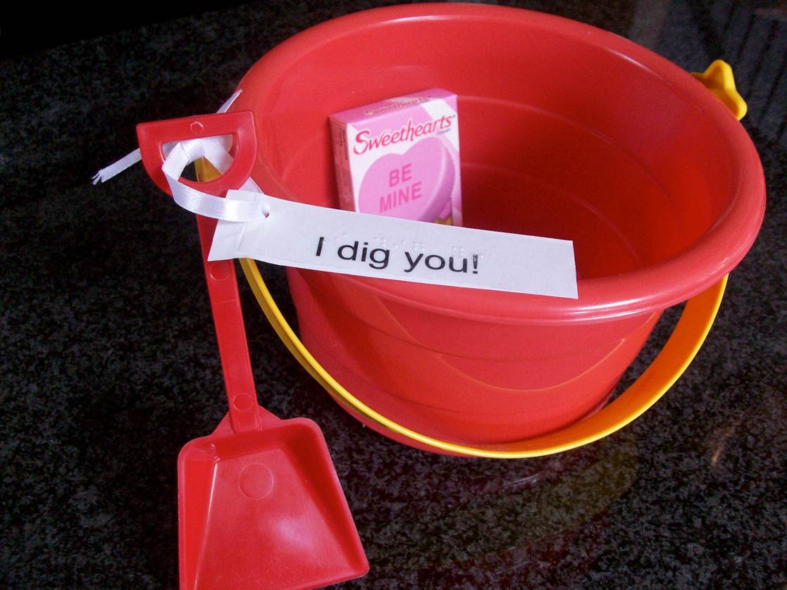 Shovel and pail package for valentines gift.