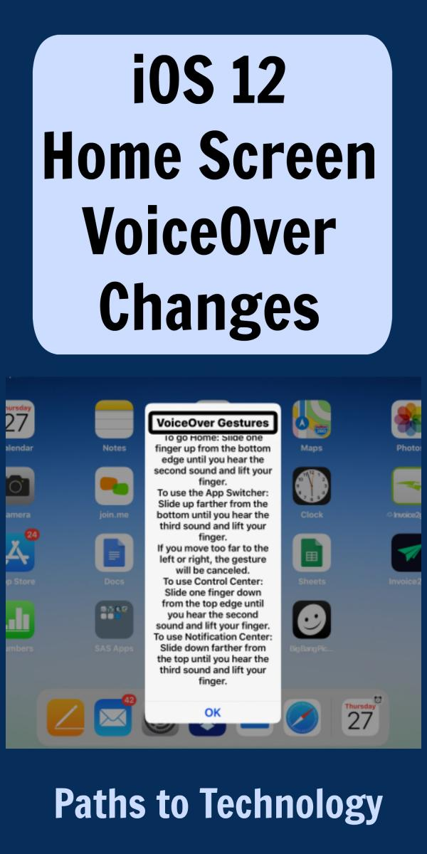 Collage of iOS home screen VoiceOver changes