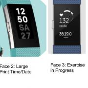 Face 2: Large Print time and date (two numbers per line) and Face 3: Exercise with heart rate and length of time