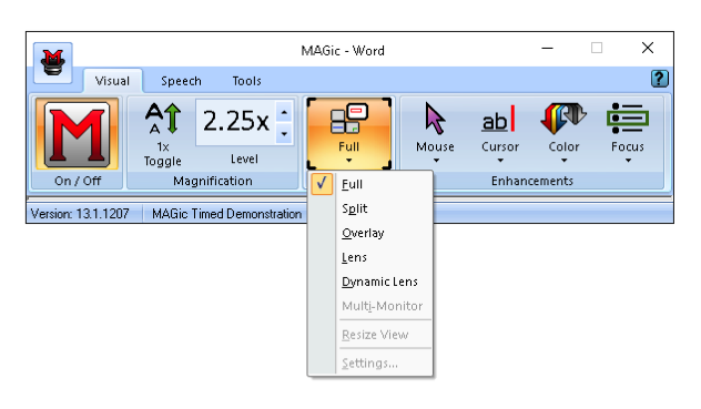 Screenshot of MAGic tool bar with Full Menu options opened.