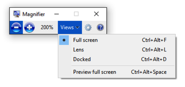 Screenshot of Windows Magnifier with Full Screen option menu open.