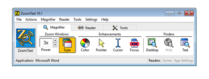 Screenshot of ZoomText tool bar with Type option selected.