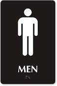 Men's bathroom sign with image.