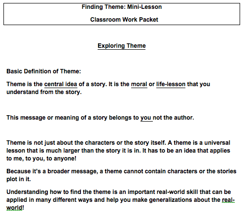 Finding Theme: Mini-Lesson Classroom Work Packet Exploring Theme