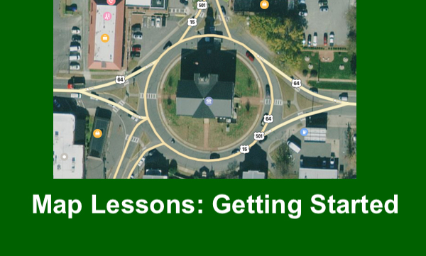 """Satellite view of Pittsboro Historic Courthouse circle with text, """"Map Lessons: Getting Started"""""""