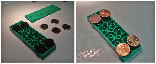 Lego platform with pennies and velcro dots