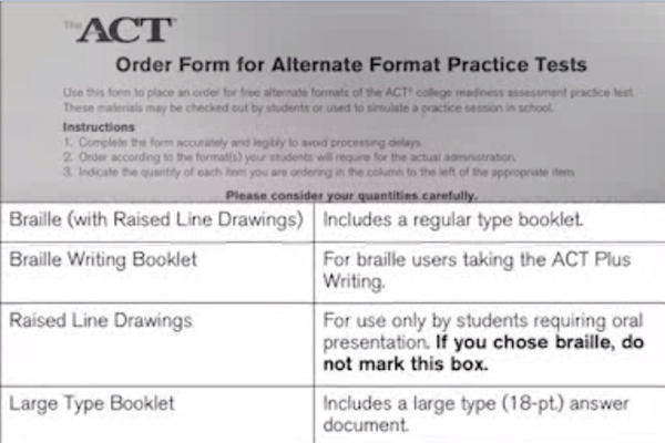 ACT order form that allows students and parents to request alternate format practice tests.