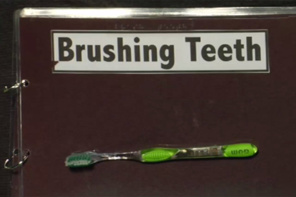 Simple visual representation of brushing teeth shows a toothbrush and brushing teeth in braille.