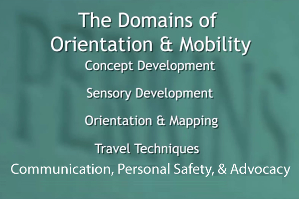 The five Domains of Orientation and Mobility.