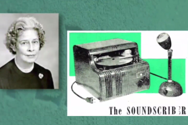 A photograph of Ann MacDonald, along with an image of a Soundscriber.