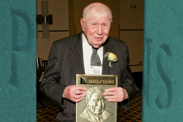 A photograph of Dr. Nemeth when he inducted into the Hall of Fame for Leaders and Legends of the Blindness Field.