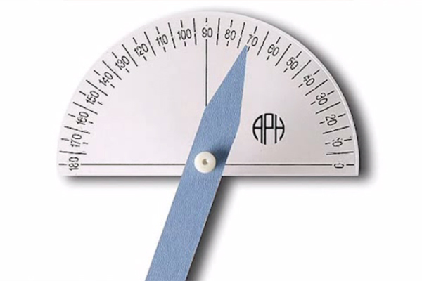 An example of the braille print protractor with the APH logo.
