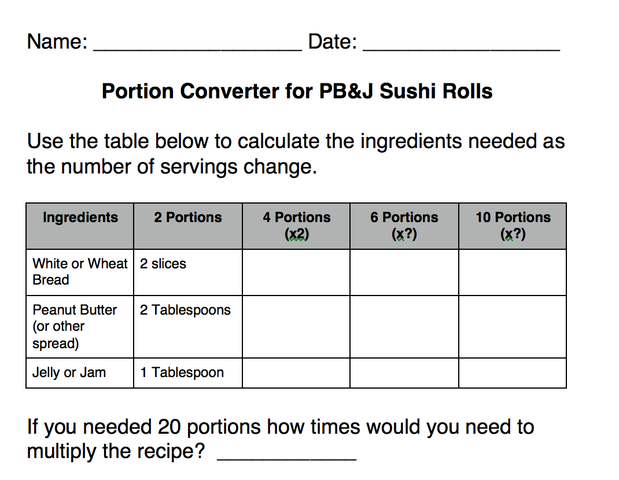 Portion Converter worksheet