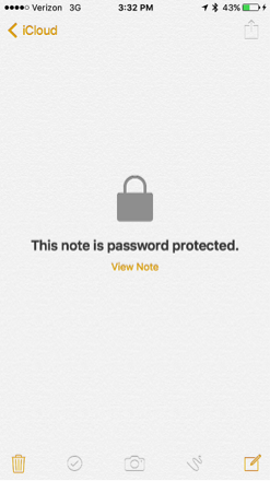 "Screenshot of protected notes in Notes app: image of lock and ""This note is password protected."""