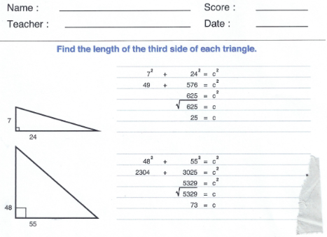 pythagorean answers sheet clip