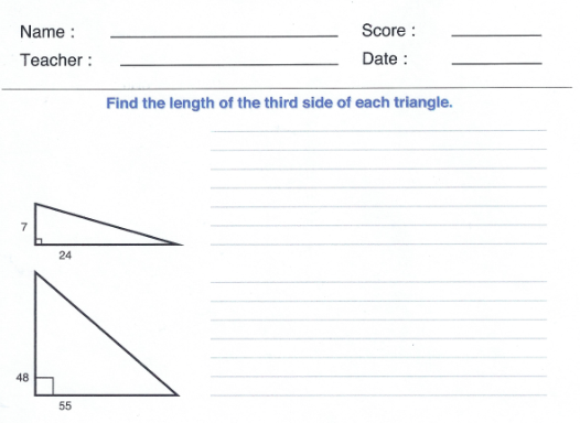 pythagorean worksheet clip