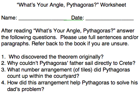 what's your angle, pythagoras worksheet clip