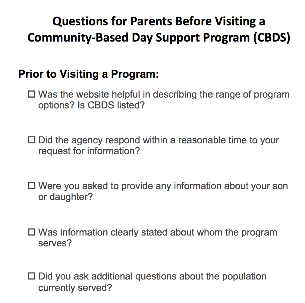 Questions for parents visiting a CBDS program